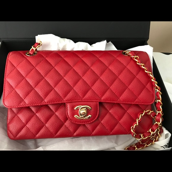 Chanel red caviar medium double flap bag with ghw 84f1b2158f